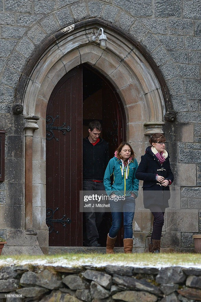 Members of the congregation leave St Munda's Church, following prayers being offered for the people affected by an avalanche that killed four climbers and left a fifth with head injuries on January 20, 2013 in Glencoe, United Kingdom. A party of six, three men and three women were descending Bidean Nam Bian close to Church Door Buttress when the snow slope broke away.