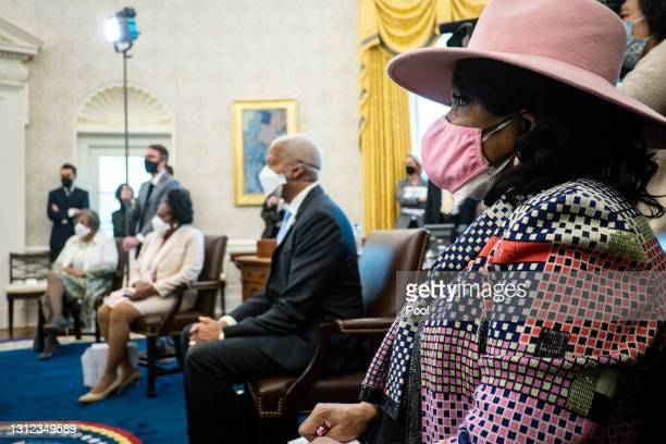 Members of the Congressional Black Caucus, including Rep. Frederica Wilson , meet with U.S. President Joe Biden and Vice President Kamala Harris in...