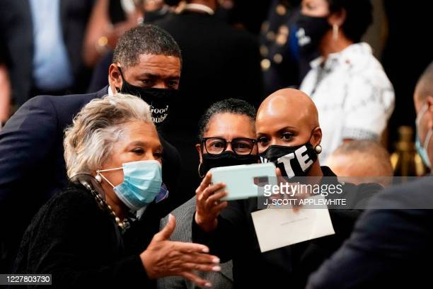 Members of the Congressional Black Caucus Rep Joyce Beatty DOH Rep Cedric Richmond DLA Rep Marsha Fudge DOH and Rep Ayanna Pressley DOH pose for a...