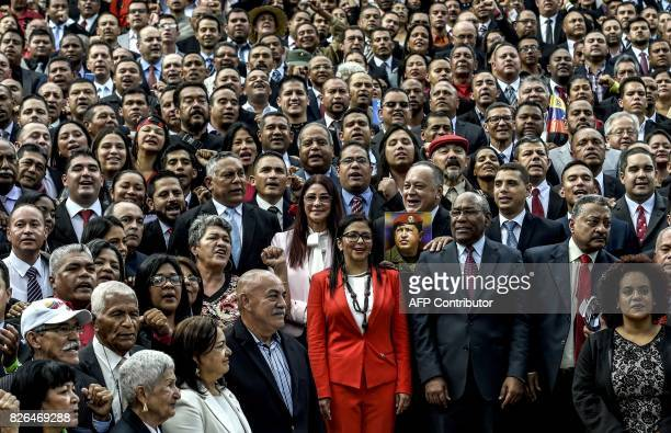 TOPSHOT Members of the Constituent Assembly pose outside the National Congress during the organism's installation in Caracas on August 4 2017...