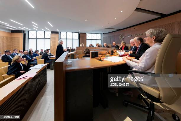 Members of the Constitutional Council or 'Conseil Constitutionnel' Dominique Lottin Michel Pinault Lionel Jospin Claire BazyMalaurie the president...