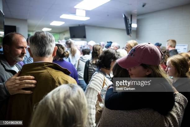 Members of the Cookeville community gather for a prayer service at Collegeside Church of Christ on March 3 2020 in Cookeville Tennessee A tornado...