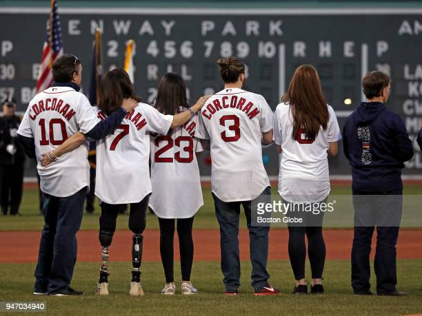 Members of the Corcoran family including Celeste Corcoran who lost both legs in the Boston Marathon bombings and daughter Sydney who was severely...