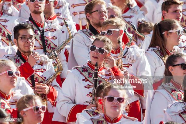 Members of the Corn Husker Marching band get set in the stands during the game between the BethuneCookman Wildcats and the Nebraska Cornhuskers on...