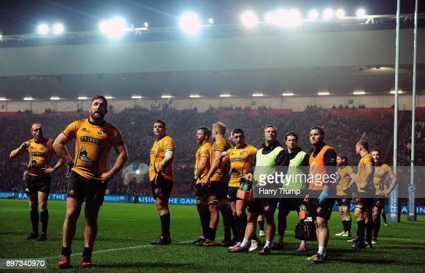 Members of the Cornish Pirates side cut dejected figures after conceeding a try during the Greene King IPA Championship match between Bristol Rugby...
