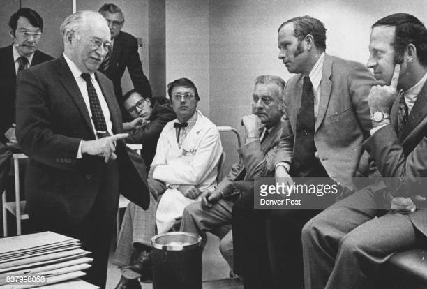 Members of the Craig Rehabilitation Staff listen to Sir Ludwig Guttmann following his tour of the Hospital Credit Denver Post