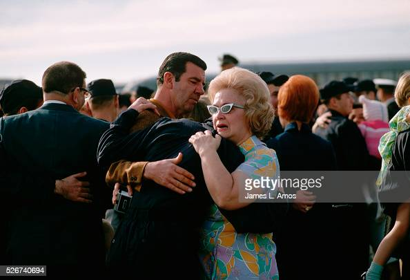 Members of the crew of the USS Pueblo greet relatives upon returning from captivity in North Korea The ship was seized in January 1968 and the crew...