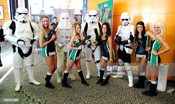 Members of the Crocodiles cheerleaders pose with members of the 501st Legion Star Wars enthusiasts before the start of the round 18 NBL match between...