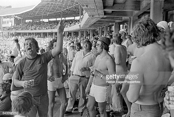 Members of the crowd in Bay 13 at the MCG during the 3rd Test match between Australia and England at Melbourne Australia 26th December 1974