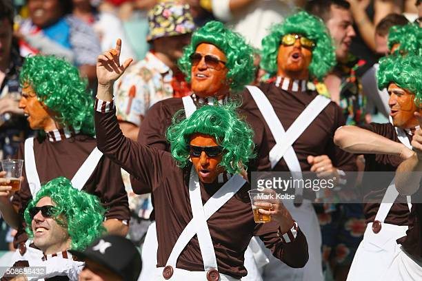 Members of the crowd in fancy dress enjoy the atmosphere during the 2016 Sydney Sevens at Allianz Stadium on February 6 2016 in Sydney Australia