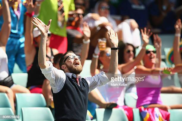 Members of the crowd in fancy dress enjoy the atmosphere during the 2016 Sydney Sevens at Allianz Stadium on February 7 2016 in Sydney Australia