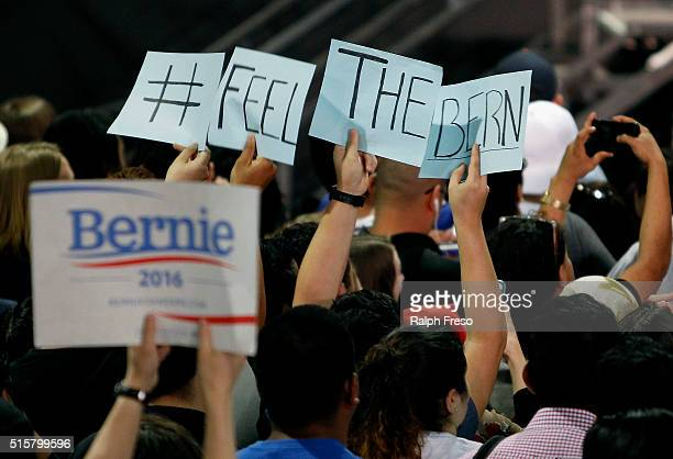 Members of the crowd show their support for Democratic presidential candidate Sen Bernie Sanders at the Phoenix Convention Center during a campaign...