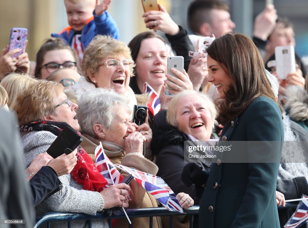 Members of the crowd smile and laugh as they chat with Catherine, Duchess of Cambridge as she visits The Fire Station, one of Sunderland's most iconic buildings, recently converted into a music and arts hub on February 21, 2018 in Sunderland, England. The royal couple will attend performances of music, dance and theatre from local children and young people, and will officially open The Fire Station.