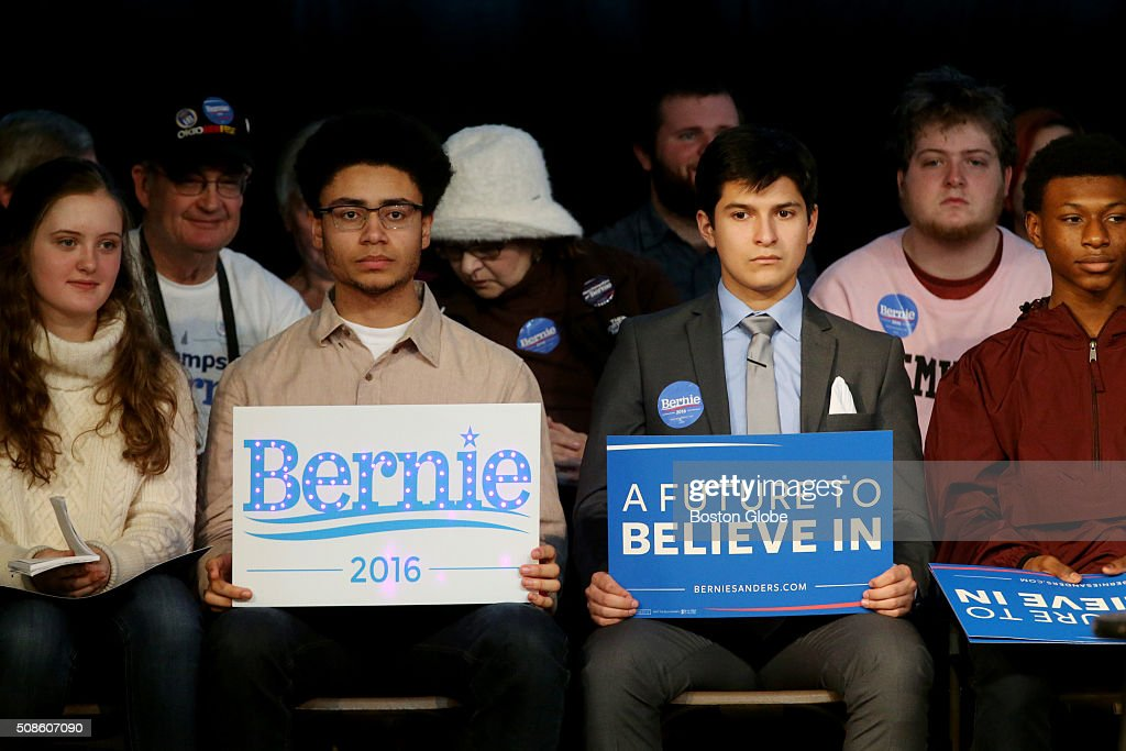 Members of the crowd wait for Bernie Sanders to arrive at a 'Get Out the Vote' rally at Town Hall in Exeter, N.H. on Feb. 5, 2016.
