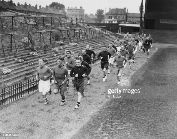 Members of the Crystal Palace football team in training at Selhurst Park Stadium 28th July 1936