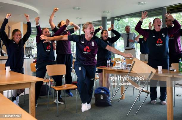 Members of the current ICC Women's World Cup winning England squad Lauren Bell, Katie George, Nat Sciver, Katherine Brunt, Tammy Beaumont and Anya...