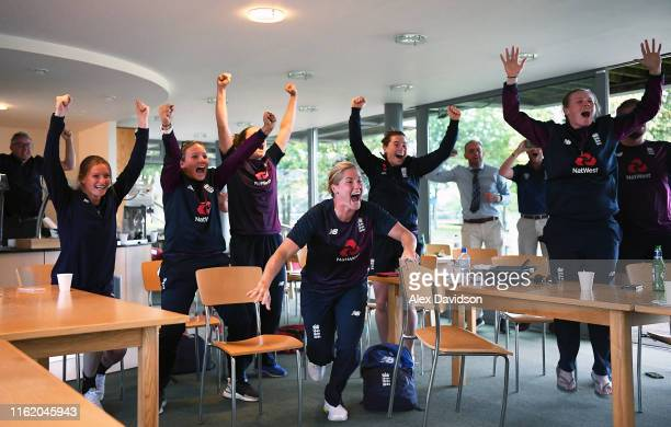 Members of the current ICC Women's World Cup winning England squad Lauren Bell Katie George Katherine Brunt Tammy Beaumont and Anya Shrubsole...