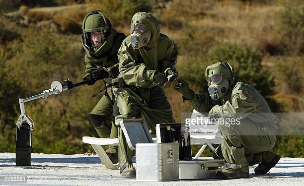 Members of the Czech Nuclear Biological and Chemical Defense Team take part in the NATO Response Force demonstration on the exercise field November...