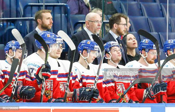 Members of the Czech Republic coaching staff during the first period of play against Finland in the IIHF World Junior Championships Quarterfinal game...