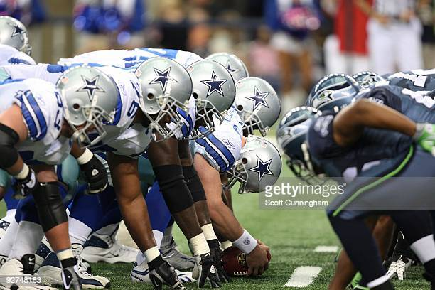 Members of the Dallas Cowboys line up at the line of scrimmage for a kick against the Seattle Seahawks at Cowboys Stadium on November 1, 2009 in...