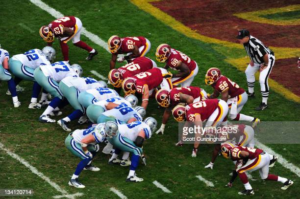 Members of the Dallas Cowboys line up for a kick against the Washington Redskins at FedEx Field on November 20 2011 in Landover Maryland
