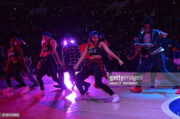 Members of the dance team perform with Naughty by Nature during halftime of the Philadelphia 76ers against the Oklahoma City Thunder at Wells Fargo...