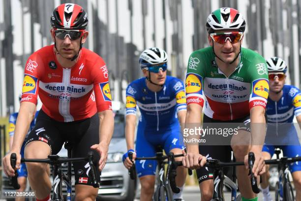 Members of the Deceuninck Quick Step with Michael Morkov and Elia Viviani in front seen ahead the start to the second stage of UAE Tour 2019 the...