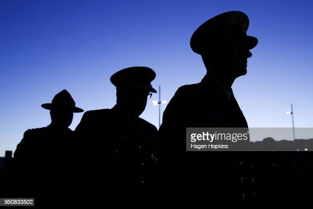Members of the defence force look on during the Anzac Day Dawn Service at Pukeahu National War Memorial Park on April 25 2018 in Wellington New...
