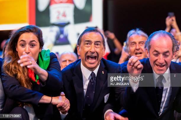 Members of the delegation of Milan/Cortina d'Ampezzo 2026 Winter Olympics Mayor of Milan Giuseppe Sala , President of Veneto Region Luca Zaia , react...