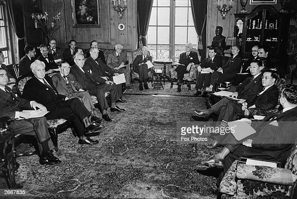 Members of the delegations to the United Nations Conference on International Organization in San Francisco left to right American politicians Charles...