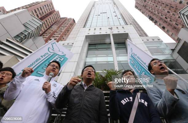 Members of the Democratic Party including Andrew Wan Siukin James To Kunsun protest against the mysterious disappearance of bookstore staff outside...