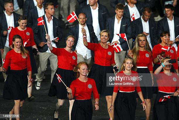 Members of the Denmark team parade through the stadium during the Opening Ceremony of the London 2012 Olympic Games at the Olympic Stadium on July 27...