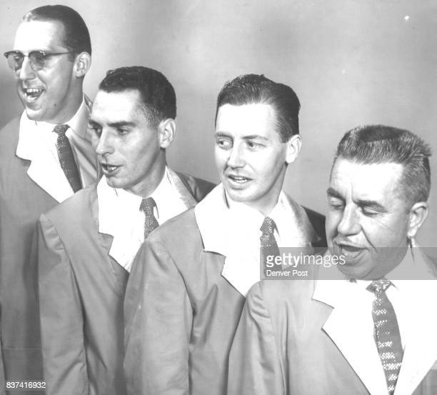 Members of the Denvaires a barbershop quartet which will sing at 3 pm Monday at the Main Library at a meeting of planners of the 1959 centennial are...
