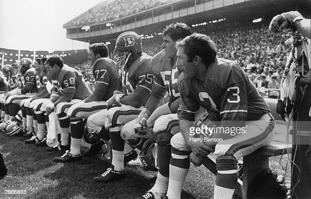 Members of the Denver Broncos an American football team on the bench