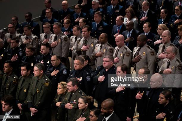 Members of the Department of Homeland Security including US Customs and Border Protection and US Border Patrol stand for the presentation of colors...