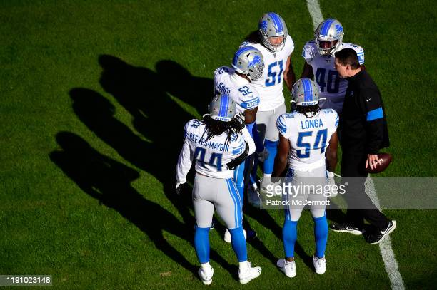 Members of the Detroit Lions huddle before a game against the Washington Redskins at FedExField on November 24, 2019 in Landover, Maryland.