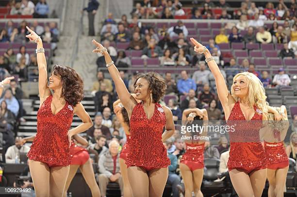 Members of the Detroit Pistons dance team the Automotion perform during a game against the Charlotte Bobcats on November 5 2010 at The Palace of...