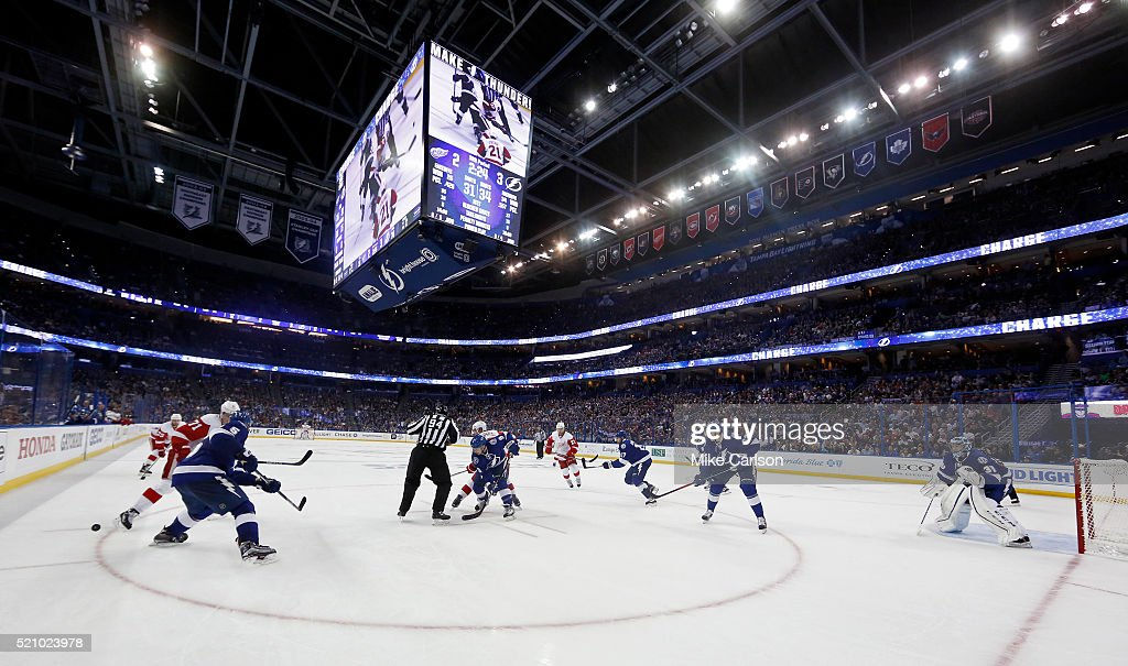 Members of the Detroit Red Wings and Tampa Bay Lightning face off during the second period in Game One of the Eastern Conference Quarterfinals during the 2016 NHL Stanley Cup Playoffs at Amalie Arena on April 13, 2016 in Tampa, Florida.