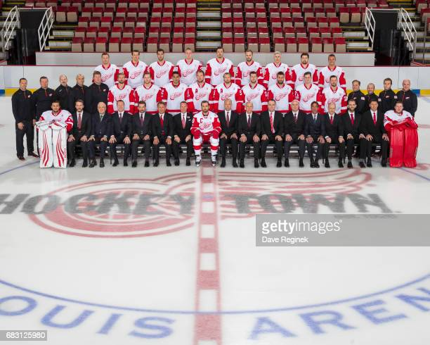 Members of the Detroit Red Wings pose for the Official Team Photo at Joe Louis Arena on April 11 2017 in Detroit Michigan Team picture with out names...