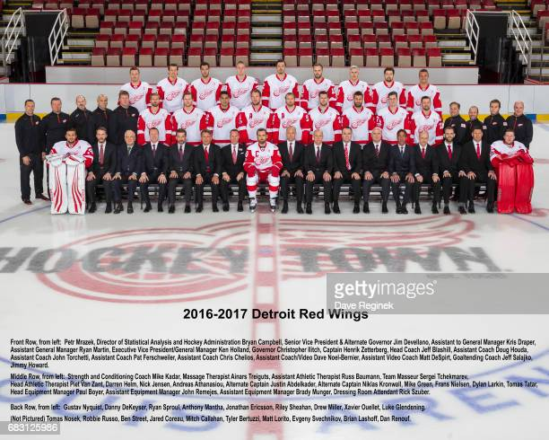 Members of the Detroit Red Wings pose for the Official Team Photo at Joe Louis Arena on April 11 2017 in Detroit Michigan Team picture with names...