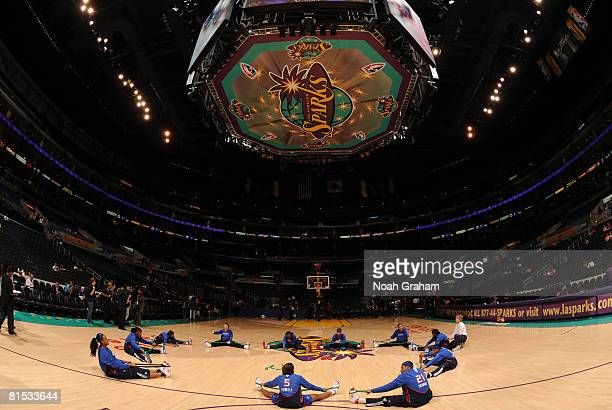 Members of the Detroit Shock warm up before taking on the Los Angeles Sparks at Staples Center on June 11 2008 in Los Angeles California NOTE TO USER...