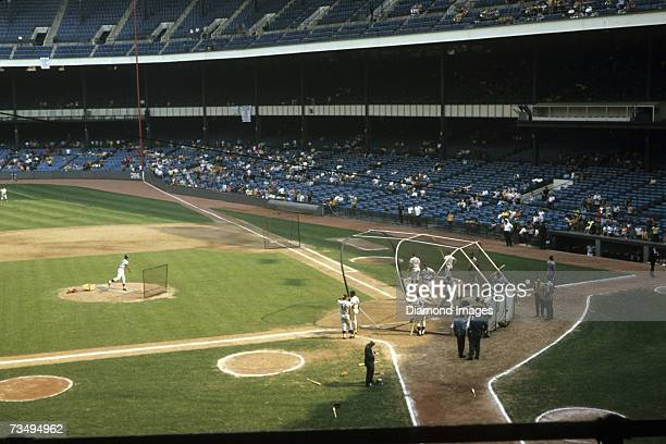 Members of the Detroit Tigers take batting practice prior to the first game of a doubleheader on August 6 1970 against the New York Yankees at Yankee...