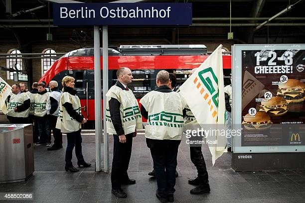 Members of the Deutsche Lokfuehrer GewerkschaftGDL stand on the platform at the Ostbahnhof railway station during a fourday strike by the GDL train...
