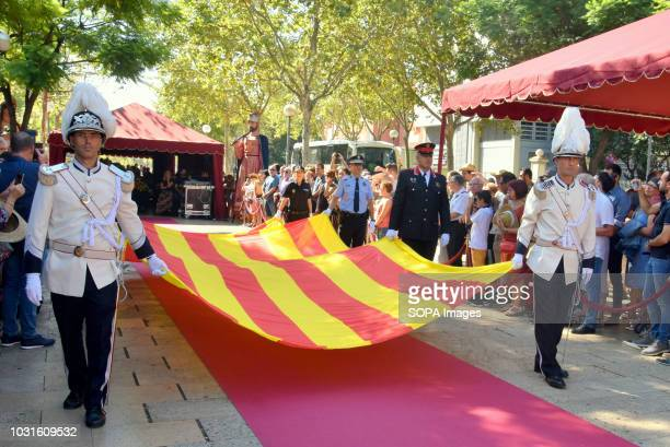 L´HOSPITALET CATALONIA SPAIN Members of the different security and police forces of Hospitalet seen carrying the flag of Catalonia during the event...