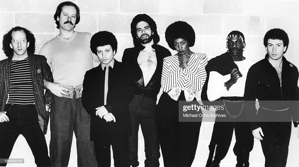 Members of the disco group 'Lipps, Inc.' including Steven Greenberg (left) and Cynthia Johnson (3rd from right) pose for a portrait in circa 1978.