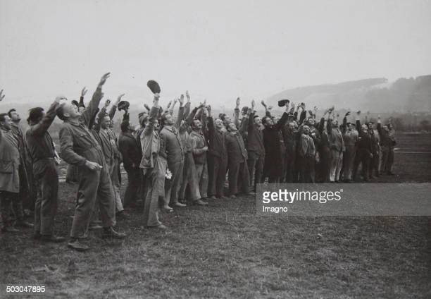 Members of the Dornier factory at the takeoff of the airship Do X on the way to America Altenrhein am Bodensee 6th November 1930 Photograph