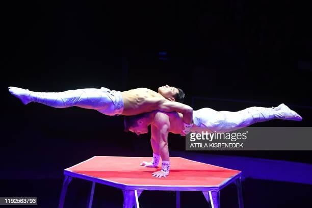 Members of the Dou Vitalys of Peru perform during the 13th International Circus Festival in the Capital Circus of Budapest Hungary on January 8 2020...
