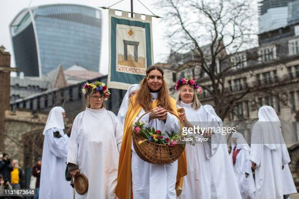 Members of the Druid Order take part in a ceremony in Tower Hill to mark Spring Equinox on March 20 2019 in London England Spring Equinox is when the...
