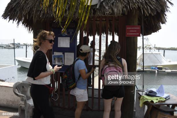 Members of the Dutch organization Women on Waves are denied access to the group's abortion ship at the Pez Vela Marina in the port of San Jose...