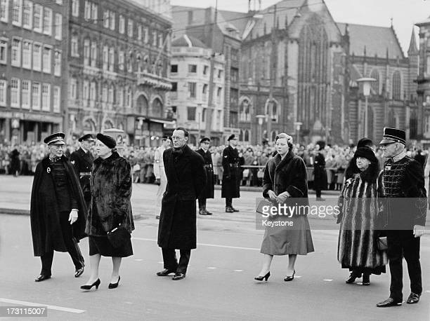 Members of the Dutch royal family at a ceremony in which Hungarian revolutionaries presented their flag to Queen Juliana, Amsterdam, 23rd December...